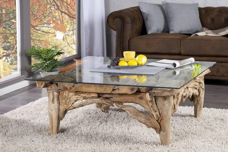 Table basse 100 cm design en bois flotté et verre