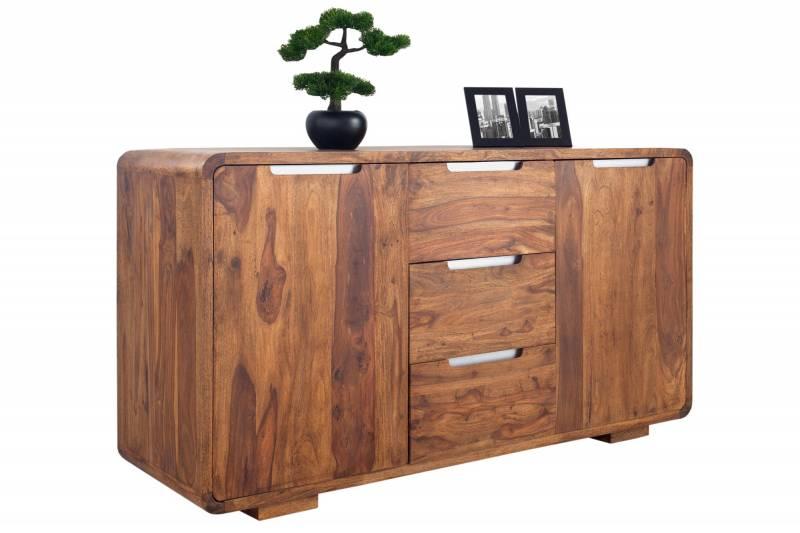 Enfilade 145 cm à 2 portes et 3 tiroirs en bois massif ciré