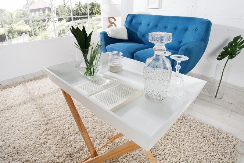 TABLE BASSE AVEC 2 PLATEAUX COLORIS BLANC