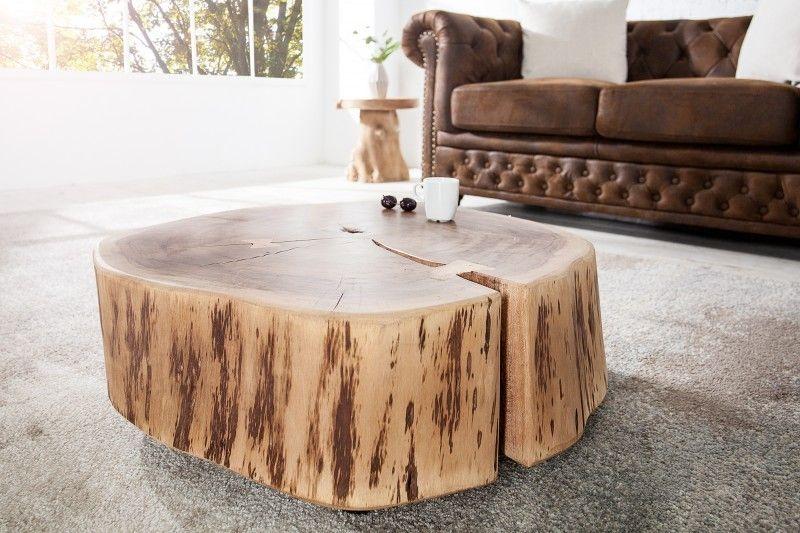 Table basse roulette en bois massif design naturel