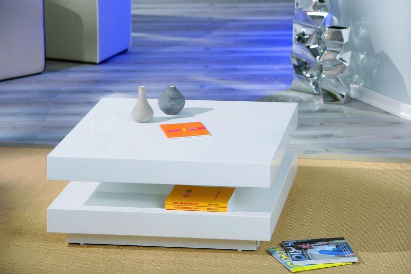 Table basse carré pivotante coloris blanc laqué